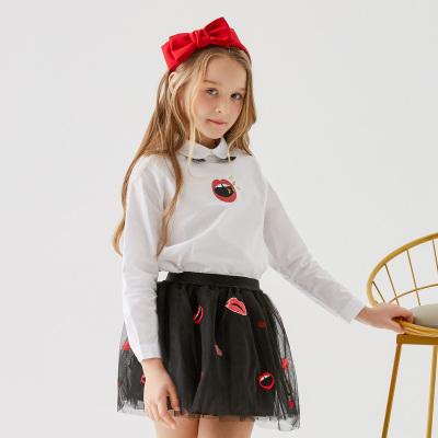 【1件2.7折:53.5】米喜迪mecity童裝春秋新款女領口后襟長袖襯衫