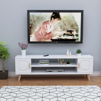 电视柜北欧简约现代卧室客厅小户型组合储物柜简易迷你地柜家具 120长*50高*30宽暖白色 组装