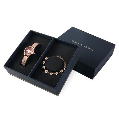 Clous Krause女士網表帶表帶手表2件套裝禮盒