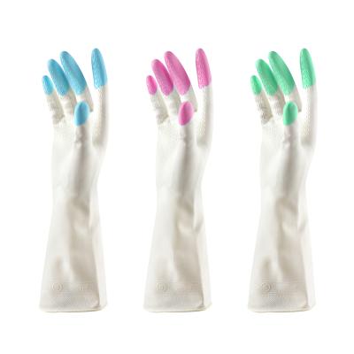 1双装家务橡胶清洁手套防滑设计 乳胶橡胶防水洗碗洗衣服手套家务手套颜色随机