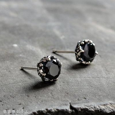 手工 925銀耳釘 黑瑪瑙簡約百搭男女耳環氣質養耳飾品
