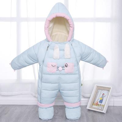 嬰兒冬季加厚外出羽絨連體服兒棉衣套裝男女寶寶保暖抱被爬服