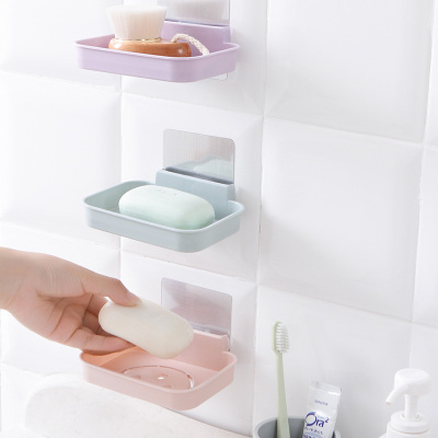 玖沫 2個免打孔肥皂盒衛生間瀝水創意壁掛香皂架浴室置物架吸盤雙層肥皂架