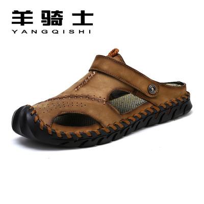 羊骑士夏季新款凉鞋男士真皮户外包头外穿沙滩鞋夏天软底两用凉鞋凉拖鞋