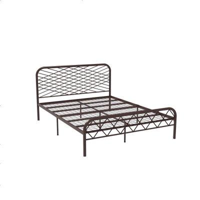 北歐ins網紅風斯黛拉金色雙人鐵床極簡設計師1.8米床鐵藝床成人 1500mm*1900mm_咖啡色(網片