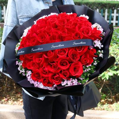 五二零 鲜花速递全国送女友爱人生日礼物花束 33朵红玫瑰道歉求婚表白送花 杭州广州上海南京北京同城花店配送