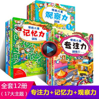 12册 找不同迷宫书专注力训练书 幼儿3-4-5-6岁注意力观察力记忆力智力开书儿童书籍逻辑思维训练图画书找茬全脑捉迷藏