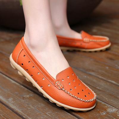 迪羅尼卡休閑女單鞋子真皮媽媽鞋縷空平底豆豆鞋護士鞋牛筋低幫鞋大碼