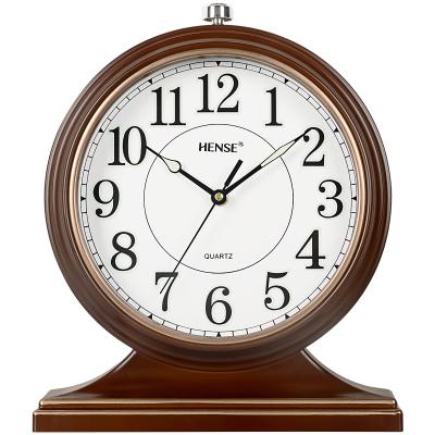 汉时(Hense)欧式夜光静音座钟古典客厅装饰台钟卧室床头钟办公室家用挂表简约创意石英钟表HD22