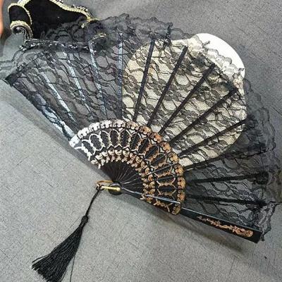 擺拍道具黑暗蘿莉病嬌哥特風洛麗塔復古風日式和風蕾絲旗袍扇子