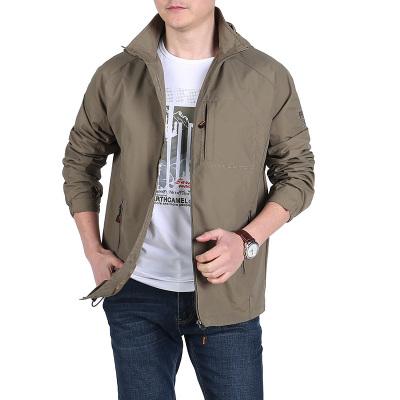 戰地吉圃男士春夏薄款速干夾克防風功能戶外沖鋒衣可脫卸帽外套男式輕便工裝茄克