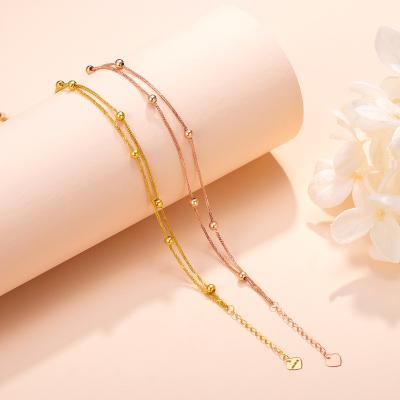 老廟黃金 【2020新款】18K金手鏈極簡基本款圓珠手鏈 雙層金豆豆金珠圓珠手鏈