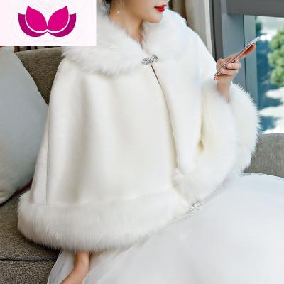 冬季新娘毛披肩婚紗斗篷加厚仿皮大碼紅白色結婚旗袍保暖外套