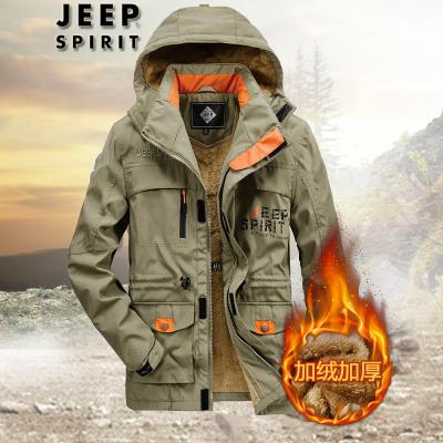 JEEP吉普戶外加絨沖鋒衣2019冬季新款速干棉衣寬松加大碼運動多口袋登山服工裝棉服外套