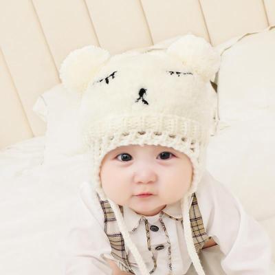 儿童刺绣毛线帽秋冬季婴儿针织毛绒护耳帽男女宝宝加厚套头帽