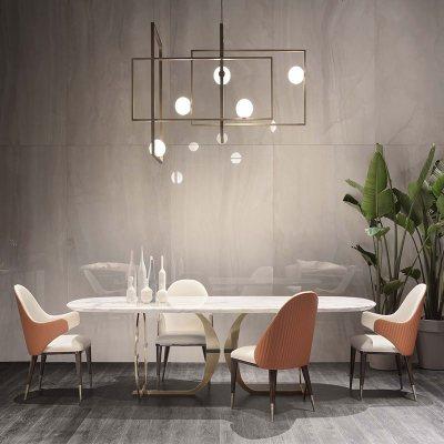 枳記家 北歐大理石餐桌椅組合一桌六椅長方形簡約家用小戶型輕奢家居餐桌
