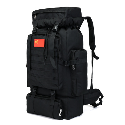黑色 70升 70L升迷彩背包男旅行特大容量旅游户外登山包出差打工背囊行李包 黑色70升