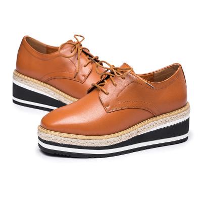 紅蜻蜓女鞋春季新款松糕底單鞋女甜美系帶皮鞋女鞋潮