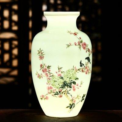 古笙记 景德镇陶瓷手绘粉彩花瓶中式家居客厅摆件插花薄胎瓷瓶酒柜装饰品