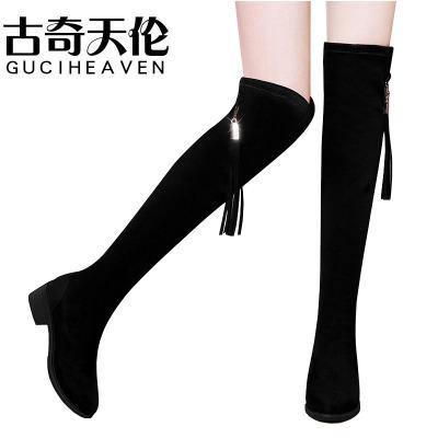 Guciheaven/古奇天倫冬新款過膝長靴女粗跟小辣椒彈力靴中跟高筒長靴
