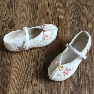 零溪老北京女童儿童绣花鞋中国风古装汉服鞋宝宝布鞋表演舞蹈鞋防滑底