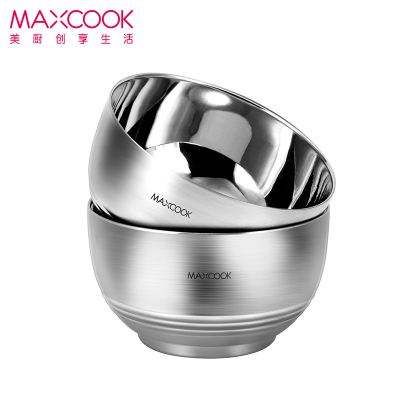 MAXCOOK美廚 加厚304不銹鋼碗 雙層中空防燙隔熱碗 餐具 中式兒童防摔 米飯碗 2只套裝帶 MCWA614