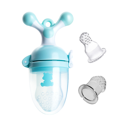 小白熊嬰兒咬咬袋寶寶咬咬輔食器嬰兒牙膠水果咬咬樂藍色09676