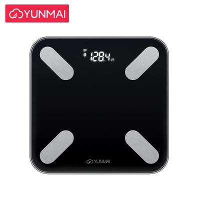云麦(YUNMAI)好轻mini2T智能家用体脂称健康秤黑色 29项身体数据测量 精准测体脂 钢化玻璃材质 称量150KG 重量1.2KG