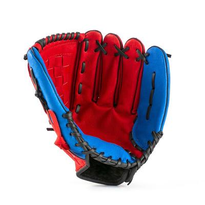 岑岑 加厚壘球棒球手套兒童少年捕手內野投手棒球手套送棒球 紅色 10.5寸 球