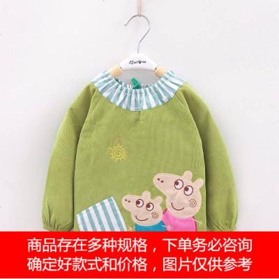 宝宝罩衣秋冬防水水晶绒罩衣长袖围裙反穿护衣男女儿童灯芯绒罩衣