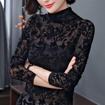 大碼蕾絲打底衫女2020春長袖上衣網紗鏤空黑色蕾絲衫加絨/不加絨雪千羽