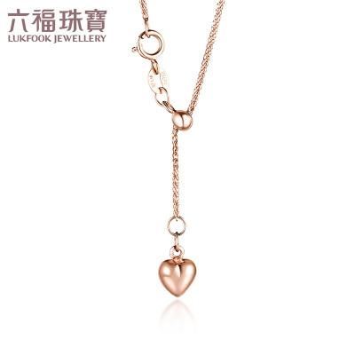 六福珠寶18K金項鏈心掛念一款兩戴彩金套鏈定價L18TBKN0033R/L18TBKN0033Y