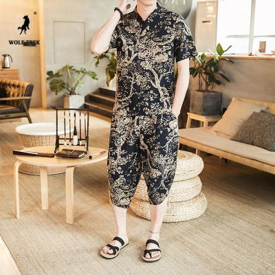 WOLF TREK    大碼中國風印花七分褲套裝男復古民族風唐裝休閑兩件套夏季寬短袖T恤
