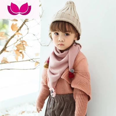 韓版時尚兒童圍巾男女寶寶三角圍脖幼童春秋季百搭羊絨小圍巾裝飾