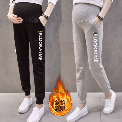 孕妇裤秋冬装加绒新款宽松休闲运动长裤大码高腰托腹打底裤外穿厚