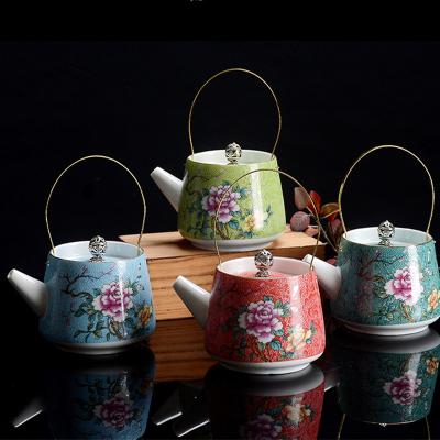 藝術陶瓷茶壺茶具配件貼青花提梁壺泡茶具手提壺 紅色