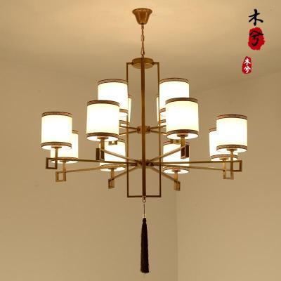 蒹葭現代中式復式樓大吊燈客廳餐廳燈創意大氣別墅酒店工程新中式吊燈 4頭吊燈黑色