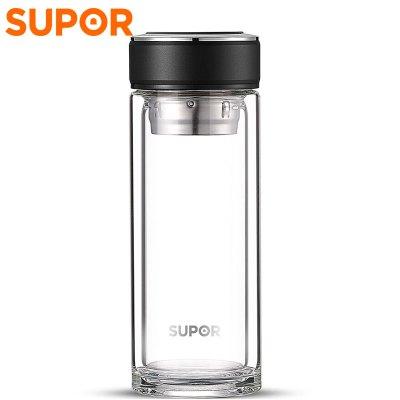苏泊尔(SUPOR)随行耐热玻璃杯KC28CA1 商务办公出行便携送礼多功能水杯随行杯泡茶杯隔热杯热水层高硼硅质感逸系列