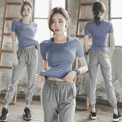 新款夏季瑜伽服閃電客女士網紅健身房顯瘦速干衣晨跑步專業運動套裝