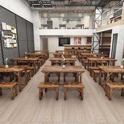 檀星星小吃店桌椅飯館餐飲食堂農家樂碳化桌燒烤早餐店快餐桌凳商用