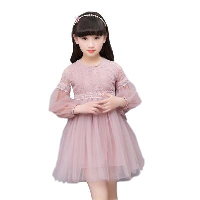 女童连衣裙夏季中大童纱裙儿童裙子春秋款长袖公主裙蕾丝长裙