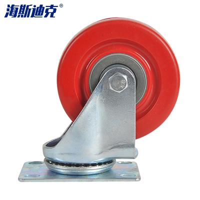 海斯迪克 HKZ-20 轉向紅腳輪 紅色全包PVC剎車萬向腳輪貨架手推車轱轆工業輪子 3寸萬向輪/2個