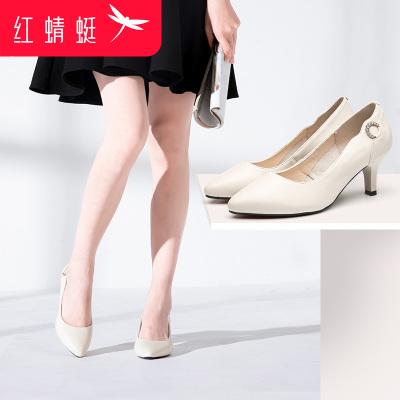 紅蜻蜓女鞋秋季真皮透氣時尚簡約性感高跟女鞋尖頭OL通勤細跟單鞋婚鞋