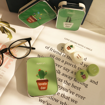 eyekan凱達品牌綠植卡通可愛伴侶盒隱形眼鏡盒雙聯盒收納可放2付鏡片