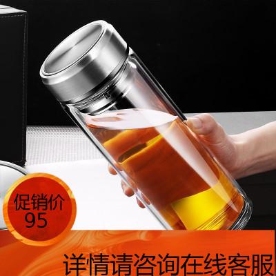 雙層玻璃杯大容量1000ML男隔熱耐熱保溫透明水杯防摔加厚泡茶杯子