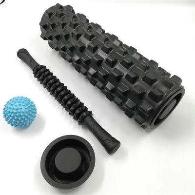 瑜伽柱泡沫滚轴套装健身棒狼牙肌肉按摩棒齿轮筋膜棒瘦腿按摩器组[定制] 45cm黑牙+橡胶棒+球+盖+包