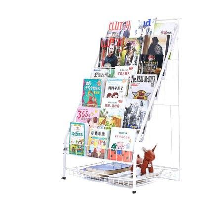 苏宁放心购书架 铁艺宝宝书柜绘本架幼儿书报架6层简易展示落地书架收纳简约新款