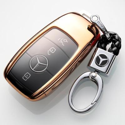 2020款奔驰GLE350 450 GLC300L 260 C200l E S级汽车钥匙套壳扣包 金色+扣子