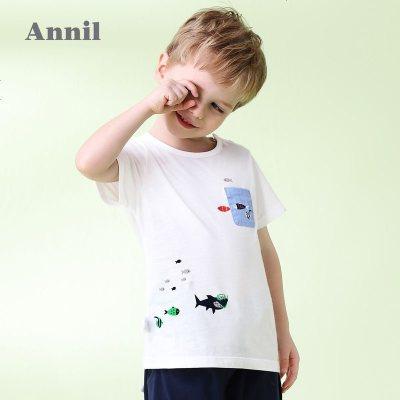 安奈儿童男童休闲萌趣印绣图案短袖T恤夏装新款