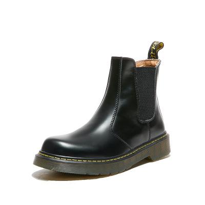 策霸秋冬新款馬丁靴真皮切爾西靴軟皮短靴女顯腿瘦腳小版型軟底靴子
